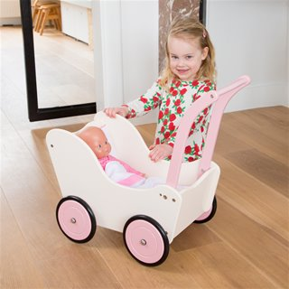 New Classic Toys - Doll Pram with Bedding - Cream
